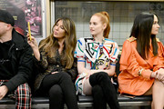 (L-R) Nina Garcia, Madelaine Petsch, and Kacey Musgraves attend the Moschino Prefall 2020 Runway Show front row at New York Transit Museum on December 09, 2019 in Brooklyn City.