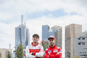 Jack Miller of Australia and Alma Pramac Racing and Andrea Dovizioso of Italy and Ducati Team (R) pose during the MotoGP of Australia - Previews during a media call ahead of the 2018 MotoGP of Australia at  on October 24, 2018 in Melbourne, Australia.