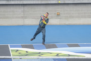 Lleyton Hewitt of Australia (Australian Davis Cup captain)  plays tennis during the MotoGP of Australia - Previews during a media call ahead of the 2018 MotoGP of Australia at  on October 24, 2018 in Melbourne, Australia.