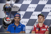Andrea Iannone of Italy and Team Suzuki ECSTAR and Jorge Lorenzo of Spain and Ducati Team (R) look on during the press conference pre-event during the  MotoGP of San Marino - Previews at Misano World Circuit on September 6, 2018 in Misano Adriatico, Italy.