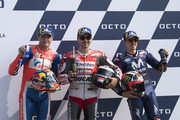 (L-R)  Jack Miller of Australia and Alma Pramac Racing, Jorge Lorenzo of Spain and Ducati Team, Maverick Vinales of Spain and  Movistar Yamaha MotoGP celebrate at the end of the qualifying practice during the MotoGP of San Marino - Qualifying at Misano World Circuit on September 8, 2018 in Misano Adriatico, Italy.