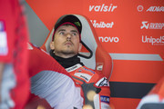 Jorge Lorenzo of Spain and Ducati Team looks on in box during the qualifying practice during the MotoGP of San Marino - Qualifying at Misano World Circuit on September 8, 2018 in Misano Adriatico, Italy.