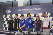 (L-R) Johann Zarco of France and AJO Motorsport, Bradley Smith of Great Britain and Monster Yamaha Tech 3, Jorge Lorenzo of Spain and Movistar Yamaha MotoGP, Valentino Rossi of Italy and Movistar Yamaha MotoGP, Marc Marquez of Spain and Repsol Honda Team and Scott Redding of Great Britain and Estrella Galicia 0,0 Marc VDS pose during the press conference pre-event during the MotoGP of Spain - Previews at Motorland Aragon Circuit on September 24, 2015 in Alcaniz, Spain.