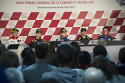(L-R) Valentino Rossi of Italy and Ducati Marlboro Team, Casey Stoner of Australia and Repsol Honda Team, Jorge Lorenzo of Spain and Yamaha Factory Team, Cal Crutchlow of Great Britain and Monster Yamaha Tech 3 and Aleix Espargaro of Spain and Power Electronics Aspar look on during the press conference pre-event during the MotoGP of Valencia at Ricardo Tormo Circuit on November 8, 2012 in Valencia, Spain.