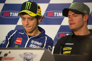 Valentino Rossi of Italy and Yamaha Factory Racing speaks with Cal Crutchlow of Great Britain and Monster Yamaha Tech 3 (R)during the press conference pre-event of the MotoGp of Italy - Previews at Mugello Circuit on May 30, 2013 in Scarperia, Italy.