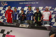 (L-R) Bernhard Gobmeier of Germany (General Director Ducati Corse), Jorge Lorenzo of Spain and Yamaha Factory Racing, Dani Pedrosa of Spain and Repsol Honda Team, Valentino Rossi of Italy and Yamaha Factory Racing, Cal Crutchlow of Great Britain and Monster Yamaha Tech 3 and Andrea Iannone of Italy and Energy T.I. Pramac Racing Team pose during the press conference pre-event of the MotoGp of Italy - Previews at Mugello Circuit on May 30, 2013 in Scarperia, Italy.
