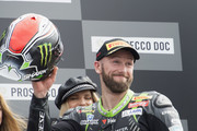 Tom Sykes of Great Britain and KAWASAKI RACING TEAM WorldSBK  celebrates the third place on the podium at the end of the Superbike Race 1 during the Motul FIM Superbike World Championship - Race One at Donington Park on May 26, 2018 in Castle Donington, England.