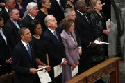 (L-R) U.S. President Barack Obama attends the funeral service for civil rights leader Dorothy Height with first lady Michelle Obama, U.S. Vice President Joe Biden, Speaker of the House Nancy Pelosi (D-CA), Senate Majority Leader Harry Reid (D-NV), Rep. Jim Clyburn (D-SC) and Secretary of State Hillary Clinton at the Washington National Cathedral April 29, 2010 in Washington, DC. Height led the National Council of Negro Women and marched with the Rev. Martin Luther King Jr.