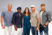 (L-R) Actors Dolph Lundgren, Wesley Snipes, TV personality Camille Ford, actors Randy Couture and Kellan Lutz attend 'The Expendables 3' Movies on Demand Interview session at Hard Rock Hotel San Diego on July 24, 2014 in San Diego, California.