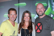 (L-R) Video game designer Cliff Bleszinski, host Camille Ford and director Jeremy Snead attend Movies On Demand 'Video Games: The Movie' Interviews during Comic-Con 2014 at Hard Rock Hotel San Diego on July 25, 2014 in San Diego, California.