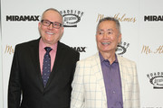 """Brad Altman and George Takei attend the New York premiere of """"Mr. Holmes"""" at Museum of Modern Art on July 13, 2015 in New York City."""