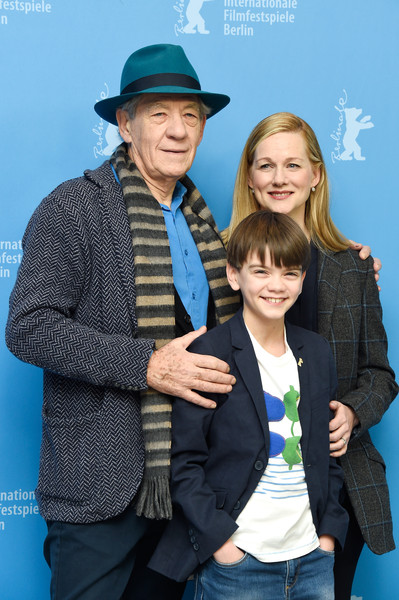 Sir Ian McKellen, Milo Parker and Laura Linney attend the 'Mr. Holmes' photocall during the 65th Berlinale International Film Festival at Grand Hyatt Hotel on February 8, 2015 in Berlin, Germany.
