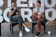 Luis Gerardo Mendez and Adam Sandler speak during the press conference of the new Netflix movie 'Murder Mystery' at St. Regis Hotel on June 13, 2019 in Mexico City, Mexico.