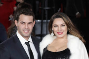 Jeremy Parisi and Kelly Brook attend the 'Murder On The Orient Express' World Premiere at Royal Albert Hall on November 2, 2017 in London, England.