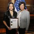 Muriel Bowser Washington, D.C. Mayor Presents Taraji P. Hensen With A Proclamation To The City