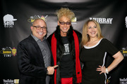 (L-R) Donald Trump impersonator John Di Domenico, magician/comedian Murray SawChuck and Michele Rothstein attend SawChuck's celebration of 1 Million YouTube subscribers at The Golden Tiki on December 12, 2018 in Las Vegas, Nevada.