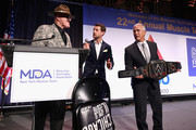 """(L-R) Sgt. Slaughter, Harry Santa-Olalla, and Ricky """"The Dragon"""" Steamboat onstage at the Muscular Dystrophy Association Celebrates 22 Years Of Annual New York Muscle Team Gala With MVP Derek Jeter And More on December 3, 2018 in New York City."""