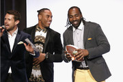 (L-R) Harry Santa-Olalla, Rashad Jennings, and Hakeem Nicks onstage during the Muscular Dystrophy Association Celebrates 22 Years Of Annual New York Muscle Team Gala With MVP Derek Jeter And More on December 3, 2018 in New York City.