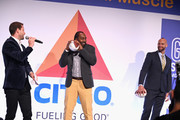 Harry Santa-Olalla, Hakeem Nicks, and Mark Herzlich onstage during the Muscular Dystrophy Association Celebrates 22 Years Of Annual New York Muscle Team Gala With MVP Derek Jeter And More on December 3, 2018 in New York City.