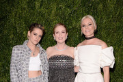 Kristen Stewart, Julianne Moore, and Elizabeth Banks attend The Museum of Modern Art Film Benefit presented by CHANEL: A Tribute to Julianne Moore at MOMA on November 13, 2017 in New York City.