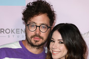 Recording Artrist Marty Shannon (L) and Actress Jillian Rose Reed (R) attend the grand opening of the Museum Of Selfies on March 29, 2018 in Glendale, California.