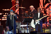 Van Morrison (L) and Eric Clapton perform on stage during Music For The Marsden 2020 at The O2 Arena on March 03, 2020 in London, England.