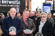 Pete Townshend (L) and Roger Daltrey (R) from The Who pictured with Chris Entwistle (son of Who bassist John Entwistle) attend the Music Walk Of Fame Founding Stone Unveiling at The Jazz Cafe on November 19, 2019 in London, England.