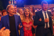 Stefanie Hertel attends with Semino Rossi and Richard Clayderman (L) the rehearsal for the Musikantenstadl presented by Austrian host Andy Borg at Saturn Arena on June 14, 2013 in Ingolstadt, Germany.