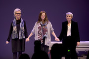 "(L-R) Writer Elizabeth Strout, actress Laura Linney, and playwright Rona Munro take part in the curtain call on the opening night of ""My Name Is Lucy Barton"" at the Samuel J. Friedman Theatre on January 15, 2020 in New York City."