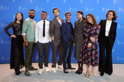 """(L-R) Xiao Sun, Hamza Haq, Yanic Truesdale, Douglas Booth, director Philippe Falardeau, Margaret Qualley, writer Joanna Rakoff and Sigourney Weaver attend the """"My Salinger Year"""" photo call during the 70th Berlinale International Film Festival Berlin at Grand Hyatt Hotel on February 20, 2020 in Berlin, Germany."""