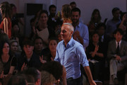 Fashion designer Alessandro Dell'Acqua acknowledges the applause of the audience afterthe N°21 - Runway show as part of Milan Fashion Week Womenswear Spring/Summer 2015 on September 17, 2014 in Milan, Italy.
