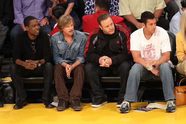 (L-R) Actors Chris Rock, David Spade, Kevin James and Adam Sandler sit ...