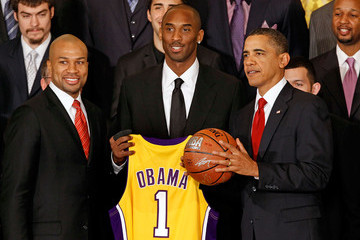 Kobe Bryant Derek Fisher NBA Champions LA Lakers Visit President Obama At White House