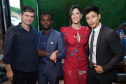 (L-R) Michael Schur, William Jackson Harper, D'Arcy Carden and Manny Jacinto attend the NBC and Universal EMMY nominee celebration at Tesse Restaurant on August 13, 2019 in West Hollywood, California.