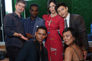(L-R) Michael Schur, William Jackson Harper, Charlie Barnett D'Arcy Carden, Manny Jacinto and Ali Ahn attend the NBC and Universal EMMY nominee celebration at Tesse Restaurant on August 13, 2019 in West Hollywood, California.
