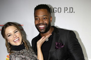Actress Sophia Bush and Actor LaRoyce Hawkins arrive for the NBC Chicago Fire, Chicago P.D, Chicago MED and Chicago Justice red carpet event on October 24, 2016 in Chicago.  / AFP / Joshua Lott