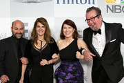 (L-R) Actors Ian Gomez, Nia Vardalos, Kate Flannery and Chris Haston attend the NBCUniversal 2015 Golden Globe Awards Party sponsored by Chrysler at The Beverly Hilton Hotel on January 11, 2015 in Beverly Hills, California.