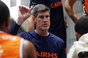 Cairns Taipans Head Coach Mike Kelly talks to his players during the 2018 NBL Blitz match between the New Zealand Breakers and Cairns Taipans at Ballarat Minerdrome on September 23, 2018 in Ballarat, Australia.