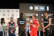 The Adelaide 36ers pose during a NBL Media Opportunity on June 27, 2018 in Melbourne, Australia.