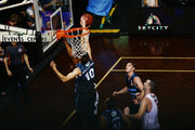 Tom Abercrombie of the Breakers blocks the shot from Demitrius Conger of the Hawks during the round 19 NBL match between the New Zealand Breakers and the Illawarra Hawks at North Shore Events Centre on February 16, 2018 in Auckland, New Zealand.