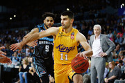 Kevin Lisch of the Kings drives against Corey Webster of the Breakers during the round two NBL match between the New Zealand Breakers and the Sydney Kings at Spark Arena on October 21, 2018 in Auckland, New Zealand.