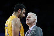 Head Coach Andrew Gaze of the Kings talks to Andrew Bogut during the round two NBL match between the New Zealand Breakers and the Sydney Kings at Spark Arena on October 21, 2018 in Auckland, New Zealand.