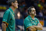 Crocodiles coach Shawn Dennis looks on with his assistant Mike Kelly during the round 22 NBL match between the Townsville Crocodiles and the Wollongong Hawks at Townsville Entertainment Centre in March 14, 2014 in Townsville, Australia.