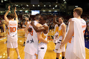 Jonny Flynn (C) of the South team celebrates with team mates after the NBL All-Star game between the North All Stars and the South All Stars at Adelaide Arena on December 22, 2012 in Adelaide, Australia.