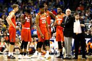 Head coach Jim Boeheim of the Syracuse Orange speaks to his team during a timeout against the Duke Blue Devils during the second half in the 2018 NCAA Men's Basketball Tournament Midwest Regional at CenturyLink Center on March 23, 2018 in Omaha, Nebraska.