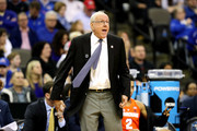 Head coach Jim Boeheim of the Syracuse Orange reacts against the Duke Blue Devils during the first half in the 2018 NCAA Men's Basketball Tournament Midwest Regional at CenturyLink Center on March 23, 2018 in Omaha, Nebraska.