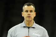 Head coach Billy Donovan of the Florida Gators leads his team during practice as they prepare to the Virginia Cavaliers in the second round of the NCAA Men's Basketball Tournament at CenturyLink Center on March 15, 2012 in Omaha, Nebraska.