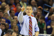 Head coach Billy Donovan of the Florida Gators yells to his team during their game against the Butler Bulldogs in the Southeast regional final of the 2011 NCAA men's basketball tournament at New Orleans Arena on March 26, 2011 in New Orleans, Louisiana.