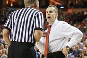 Head coach Billy Donovan of the Florida Gators exchanges words with an official in the first half against the Minnesota Golden Gophers during the third round of the 2013 NCAA Men's Basketball Tournament at The Frank Erwin Center on March 24, 2013 in Austin, Texas.
