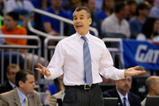 Head coach Billy Donovan of the Florida Gators reacts in the first half while taking on the Pittsburgh Panthers during the third round of the 2014 NCAA Men's Basketball Tournament at Amway Center on March 22, 2014 in Orlando, Florida.